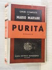 PURITA Mario Mariani Sonzogno Opere complete 1947 romanzo libro narrativa storia