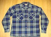 50s ARROW 100% Wool Blue Shadow Box Plaid Button Front Loop Collar Shirt Sz  EUC