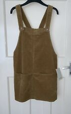 Zara Camel Corduroy Pinafore Dress With Front Pockets Size S
