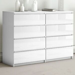 High Gloss Chest of Drawers Bedside Table cabinet 8 Draws Wide Bedroom Furniture