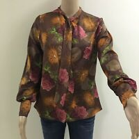 Vintage 1970s Caron Fashion Shirt Flowers With Earth Colours Size 12