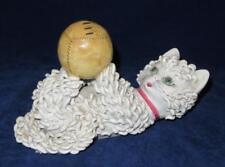 "Vintage Spaghetti Cat Playing w/ Baseball Porcelain Figurine Italy, 10"" x 4"""