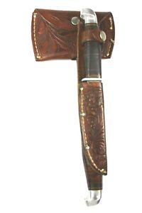 Vintage KINFOLKS Knife Axe Combo Original Tooled Leather Sheaths ( SCARCE )