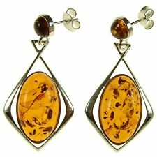 Orange Baltic Amber Sterling Silver 925 Drop Dangling Stud Earrings Jewellery