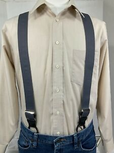 """New, Men's, Gray, Dressy Button-On, XL,1.5"""", Adj. Suspenders/Braces, Made in USA"""
