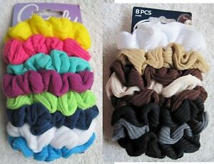 8 Goody Ouchless Gentle Scrunchie Elastic Ponytailer Hair Bands Soft Fabric Java