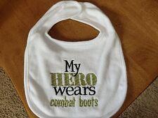 Embroidered Baby Bib - My Hero Wears Combat Boots