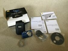 "EUC! Nikon COOLPIX S220 10.0MP 3X 2.5"" LCD Digital Camera Blue With Black Case"