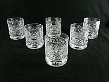 Rare Antique BACCARAT Flawless Crystal Set 6 x Whiskey Tumbler w/ Engravings