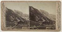 Suisse Maisons Chalets Montagne Foto Vintage Stereo Albumina