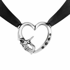Skull Heart Choker Etendu Mort De Coeur Love Black Satin Alchemy Gothic P821