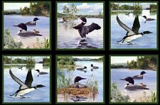 "24"" Fabric Panel - Elizabeth's Studio Loon Island Bird Blocks Wallhanging"