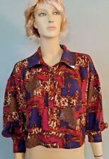 Line & Dot Chain Buckle Design Shirt Sz S Half Button Pink Blue Gray NWT!