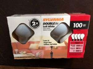 Sylvania 100W Double Life Soft White Light Bulbs 4 pack INCANDESCENT! A19
