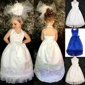Lovely Floral Embroideries Satin Wedding Dress Flower Girl Party Size 2-12 FG181