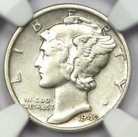 1942/1 Mercury Dime 10C - NGC XF Details (EF) - Rare Overdate Variety Coin!