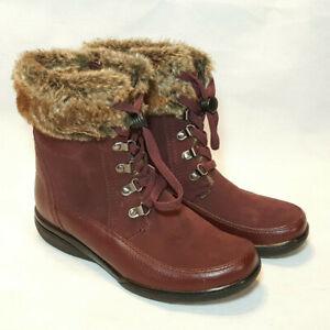Clarks Winter Ankle Boots Sz 7.5W Leather Suede Faux Fur Lined Wine Purple