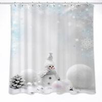 Snowman Printed Fabric Waterproof Shower Curtain Ebay