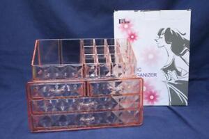 Acrylic Pink Diamond Pattern Jewelry Cosmetic Organizer 2-Pieces Set Ikee Design