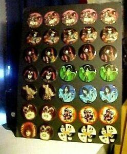Large Vintage 1980 KISS Australia 35 Pinback Buttons On Original Display Easel
