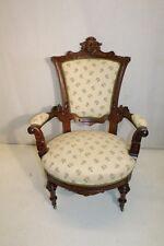 Exquisite Renaissance Revival Walnut carved Fauteuils Side Chair on Casters
