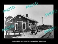 OLD LARGE HISTORIC PHOTO OF QUINCY OHIO THE BIG FOUR RAILROAD DEPOT c1900