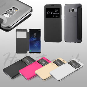For Samsung GALAXY S8 /PLUS Flip Wallet View Screen Phone Case Window Slim Cover
