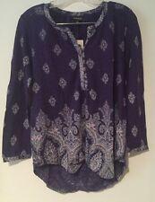 Lucky Brand Women's Blue Paisley Print Knit Split Neck Boho Top SX NWT $60