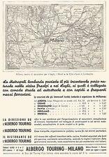 W9692 Albergo Touring Milano - Carta geografica Lombardia - Pubblicità del 1936