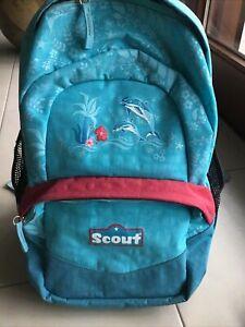 Rucksack Kinder Scout, hellblau mit Delfinen, gebraucht; Ca. 40 cm X 26 cm X 15