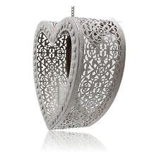 French Grey Hanging Filigree Lace Heart Tea Light Votive Holder Metal Fretwork