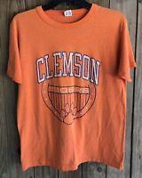 Clemson Tigers Men's Large Tshirt Vintage 80's Champion Orange 50/50 USA NCAA