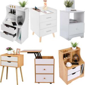 Nightstand Bedside Bedroom End Table Storage Shelf 2 Drawers Stand Storage Wood