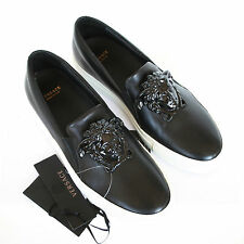 VERSACE medusa head black leather slip on sneakers metal Palazzo shoes 35.5 NEW