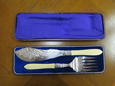 Silver Plated and Bone Fish Knife and Fork Servers.
