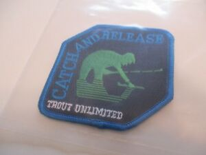 """FISHING PATCHE """"1"""" TROUT CATCH & RELEASE PATCH RARE LIMITED EDITION #6D"""