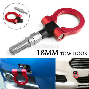 18mm Tow Hook Ring JDM Aluminum Alloy Strap Ring Front Rear Racing Turbo Red