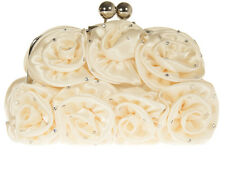 Ladies Ivory Satin Clutch Bag Evening Party  Bridal  Diamante
