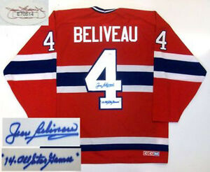 JEAN BELIVEAU SIGNED MONTREAL CANADIENS JERSEY JSA AS