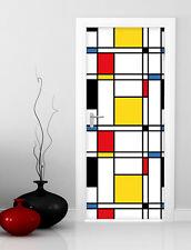 PT0035 Wall Stickers Adesivi Murali Adesivo Porta Mondrian 100x210cm