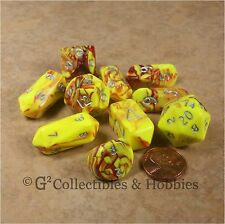 NEW 10 Toxic Yellow Red Hybrid RPG D&D Game Dice Set Crystal Caste D3 D4 D20 +