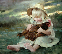 Perfect Oil painting nice young girls holding her pet animal hen on grass 36""