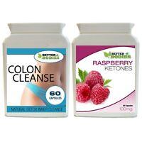 60 RASPBERRY KETONE 60 DETOX COLON INNER CLEANSE WEIGHT LOSS SLIMMING DIET PILLS