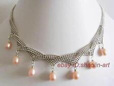 cadeau d'anniversaire ! collier, rose, perles d'eau douce,pendentif  ,42-45 cm