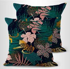 Us Seller- set of 2 home summer exotic jungle wild cat plants cushion cover