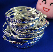 10X Lots Silver Filled Chinese Knot Bell Baby Bracelet Bangle Kids Jewelry