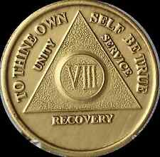 8 Year AA Medallion Alcoholics Anonymous Sobriety Chip Bronze VIII Coin Recovery