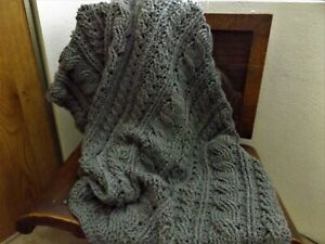 New Handmade Crocheted Afghan, Gray with large CABLES