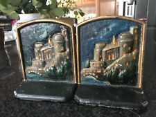 Antique / Vintage Cast Iron Hand Painted Scene Bookends .