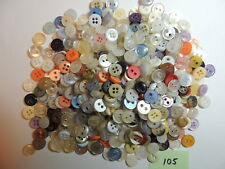 BULK BUTTONS- X-SMALL PLASTIC- MOST V.G USED-SOME NEW,SEW THROUGH-8 TO 9MM DIAM.